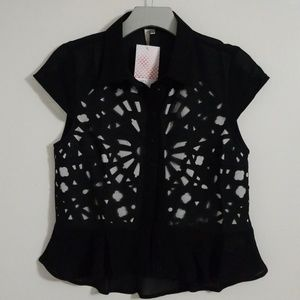 Black & white laser cutout peplum blouse top shirt